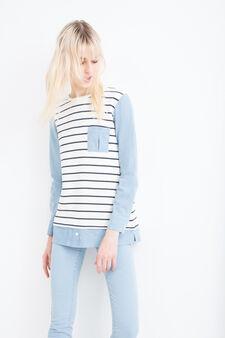 Striped, 100% cotton sweatshirt, Natural, hi-res