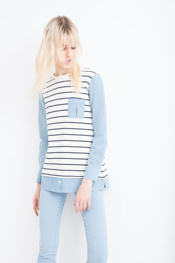 Striped, 100% cotton sweatshirt, Natural, hi-res