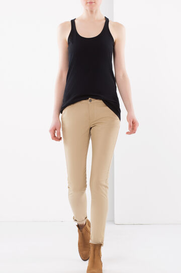 Plain trousers, Light Brown, hi-res