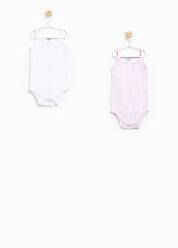 Two-pack sleeveless bodysuits with openwork design | OVS