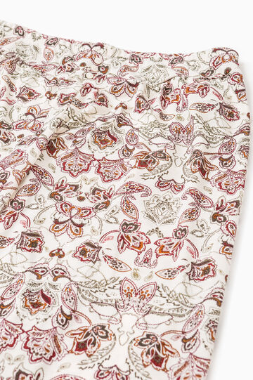 Floral viscose pyjama trousers, White, hi-res