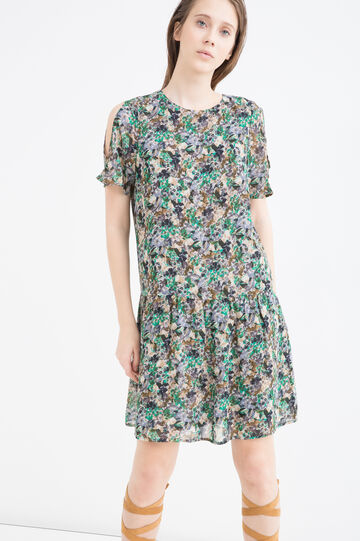 Floral print short dress, Green, hi-res