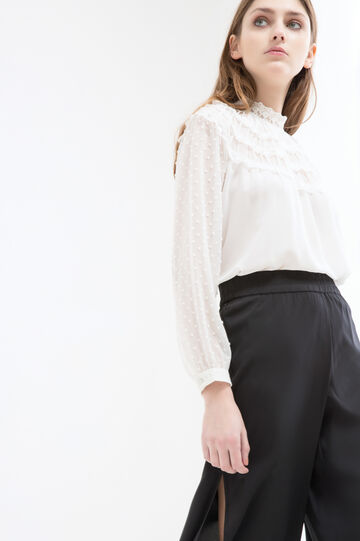 Blouse with high lace neck., Milky White, hi-res