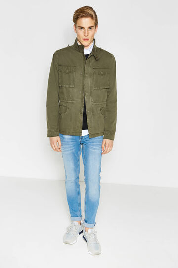 100% cotton jacket with epaulettes, Army Green, hi-res