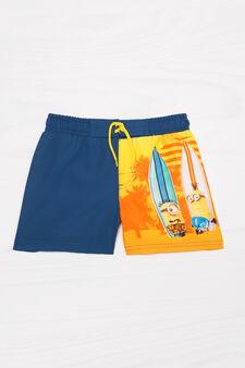Swim boxer shorts with print and drawstring, Blue, hi-res