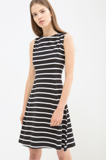 Striped short dress in cotton blend, White/Black, hi-res