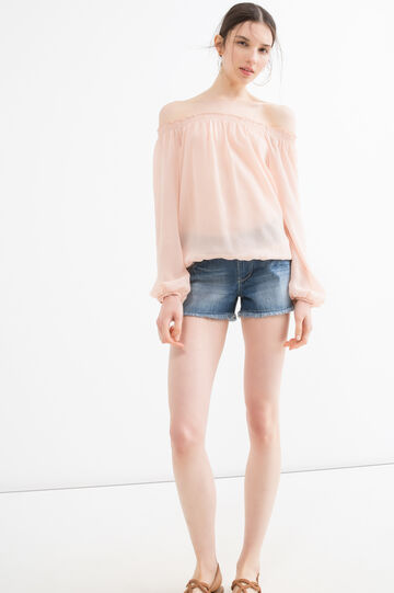 Blouse with boat neck, Pastel Pink, hi-res
