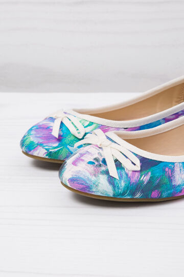Ballerina pumps with floral print, Blue, hi-res