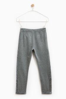 Pantaloni tuta cotone con paillettes, Grigio scuro, hi-res