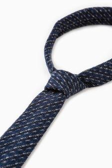 Rumford tie in patterned wool, Navy Blue, hi-res