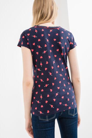 V-neck T-shirt in 100% cotton, Navy Blue, hi-res