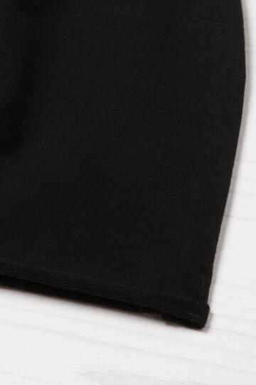 Solid colour cotton beanie cap, Black, hi-res