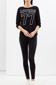 Printed stretch T-shirt, Black, hi-res