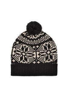Beanie cap with pompom, Black, hi-res