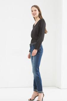 Jeans stretch cinque tasche delavé, Blu, hi-res