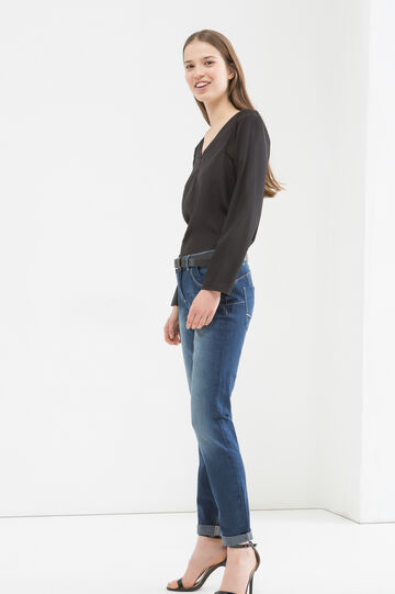 5-pocket jeans with faded effect, Blue, hi-res