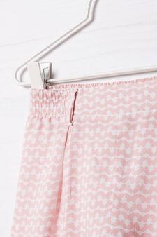 Pantaloni viscosa vita elasticata, Rosa, hi-res