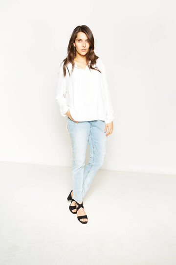 Curvy used-effect stretch jeans with embroidery, Light Wash, hi-res