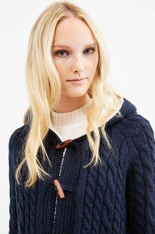 Cardigan tricot a trecce con alamari, Blu, hi-res