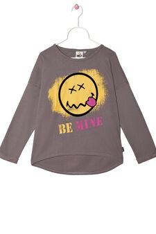100% cotton sweatshirt with three-quarter sleeves., Dark Grey, hi-res