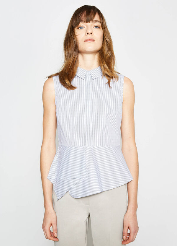 Sleeveless blouse in striped cotton | OVS