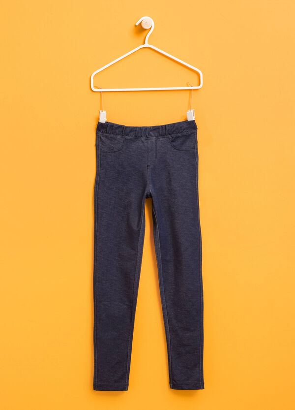 Stretch cotton jeggings with pockets | OVS