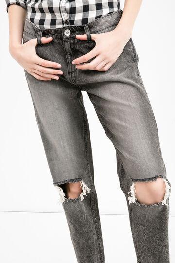 Jeans girlfriend strappati effetto used, Nero, hi-res