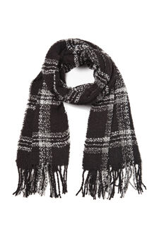 Check print scarf, Black, hi-res