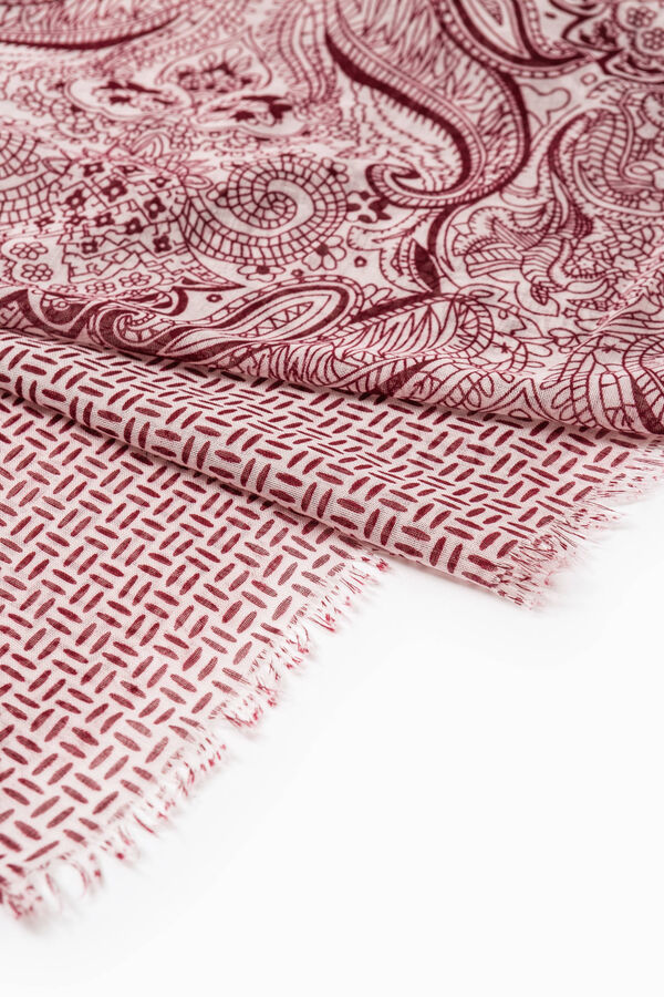 Printed scarf with fringed edges | OVS