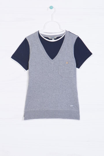 Solid colour 100% cotton pullover, Grey/Blue, hi-res