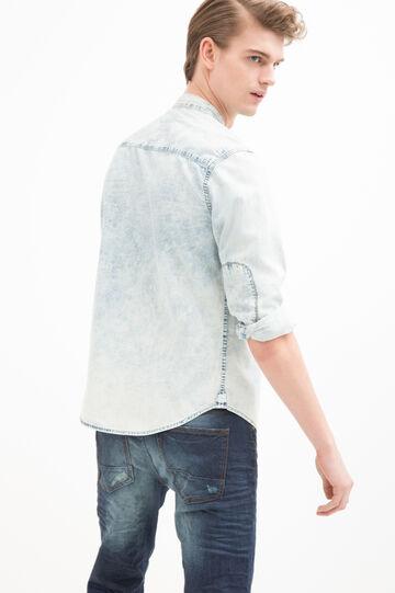 Denim shirt with printed pocket