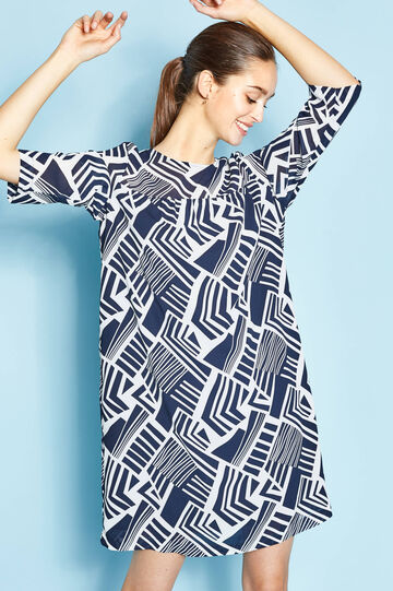 Patterned dress in 100% cotton, White/Blue, hi-res