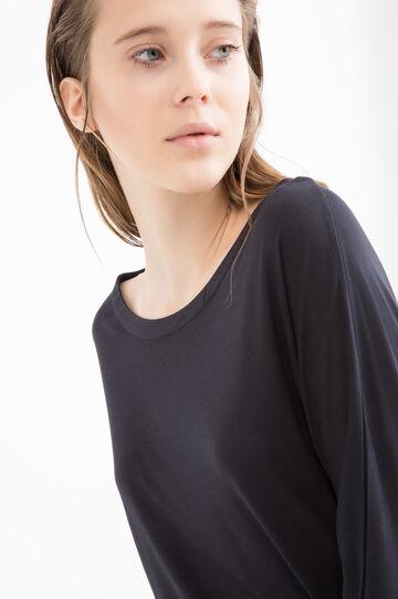 100% viscose patterned T-shirt, Black, hi-res