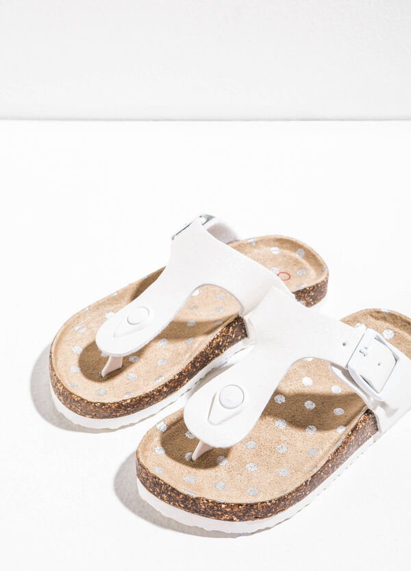Polka dot sandals with glitter straps | OVS
