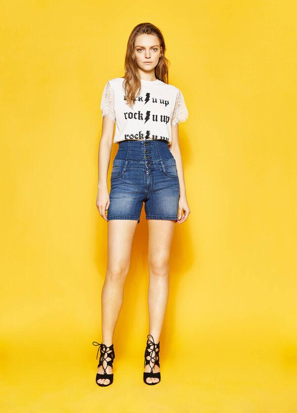 High-waist stretch denim shorts | OVS