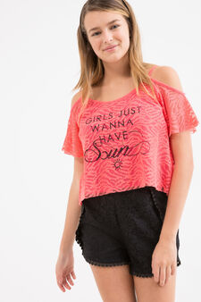 Printed Teen lace T-shirt, Pink, hi-res