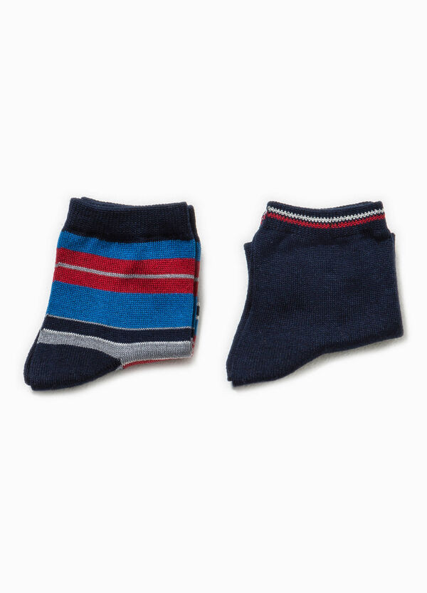 Two-pair pack embroidered and patterned socks | OVS