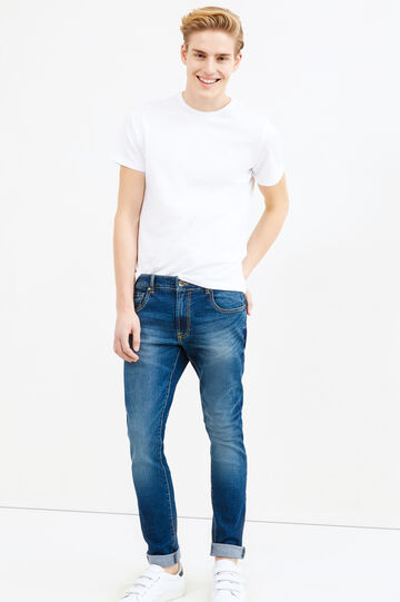 Jeans loose fit stretch effetto used, Denim, hi-res