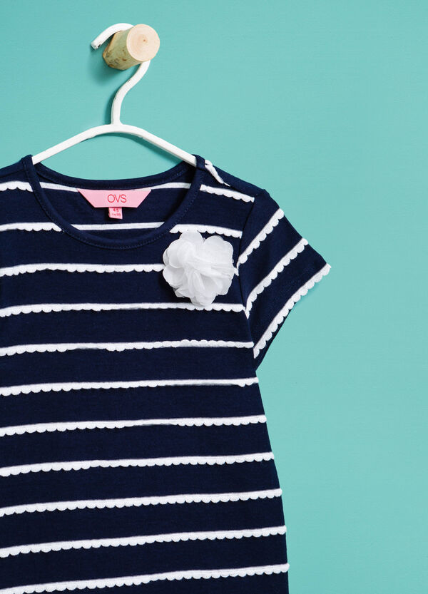 T-shirt in cotone con fiore in tulle | OVS