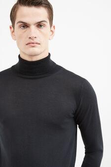 Solid colour wool blend turtleneck jumper, Black, hi-res