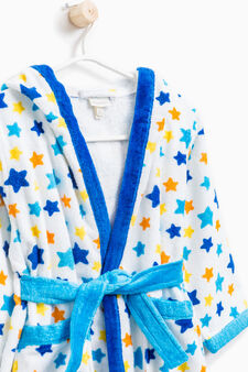 Cotton bathrobe with star pattern, Navy Blue, hi-res