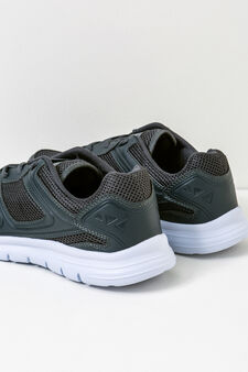 Solid colour sneakers with laces, Grey, hi-res