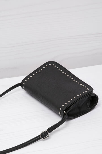Leather look clutch bag with studs, Black, hi-res