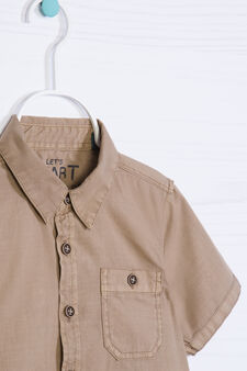 Camicia puro cotone tinta unita, Beige, hi-res