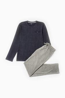 Striped pattern cotton pyjamas, Navy Blue, hi-res