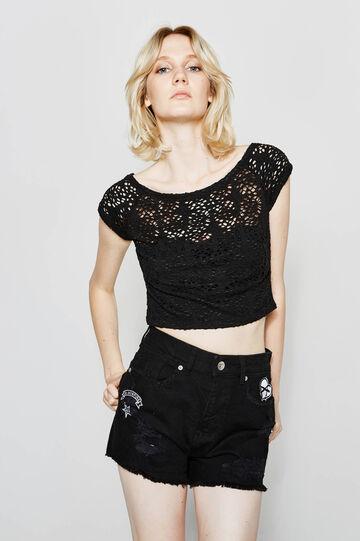 Stretch lace crop T-shirt