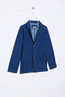 Giacca misto cotone con revers, Blu denim, hi-res