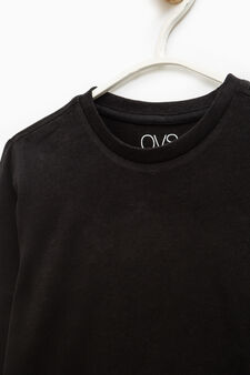 Long-sleeved 100% cotton T-shirt, Black, hi-res