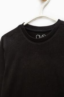 T-shirt maniche lunghe puro cotone, Nero, hi-res