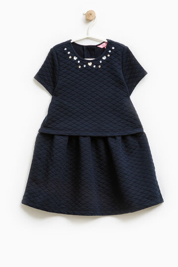 Diamond weave dress with sequins, Navy Blue, hi-res